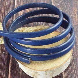 Cuir semi regaliz bleu navy 10x4mm