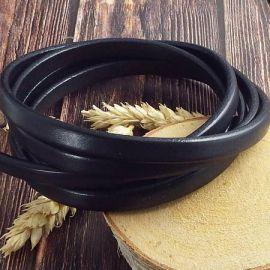 Mètre de Cuir semi regaliz noir 10x4mm
