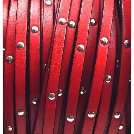 Cuir plat 5mm rouge avec clous