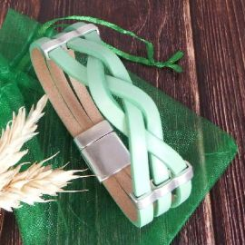 Kit bracelet cuir tresse vert menthe et argent