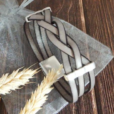 Kit bracelet cuir tresse gris clair et argent