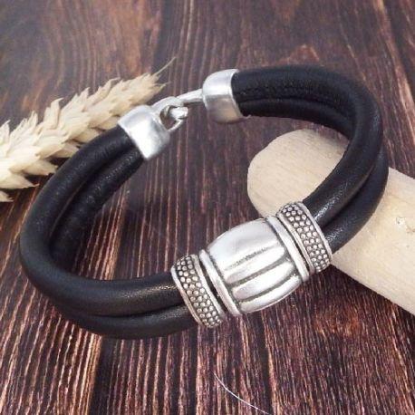 Kit bracelet cuir double noir perles argent