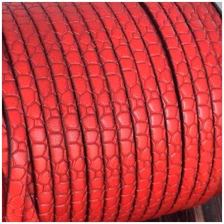 Cuir plat 5mm gravé croco rouge