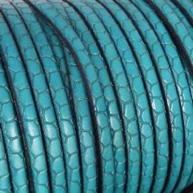 Cuir plat 5mm gravé croco turquoise