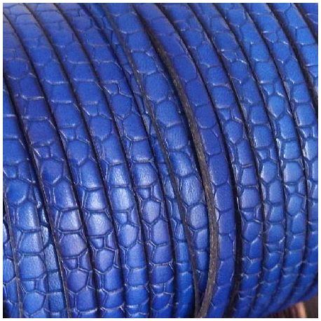 Cuir plat 5mm gravé croco bleu