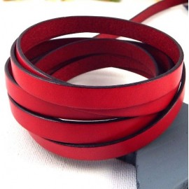 Cuir plat 10mm rouge en gros