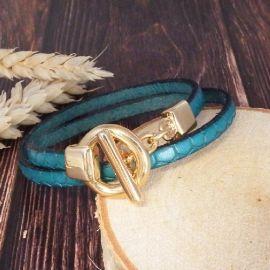 Kit bracelet cuir croco turquoise fermoir toogle or extra