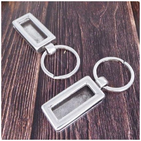 Support cuir rectangle et anneau pour porte cle argent