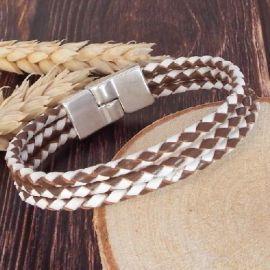 Kit bracelet cuir tresse 3 bandes marron et blanc et fermoir argent