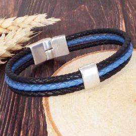 Kit bracelet cuir tresse 3 bandes bleu et noir et fermoir argent