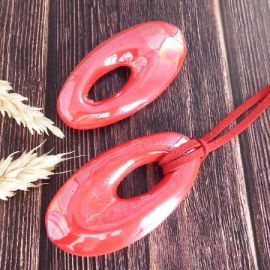 Grand pendentif ovale ceramique rouge 65x35mm
