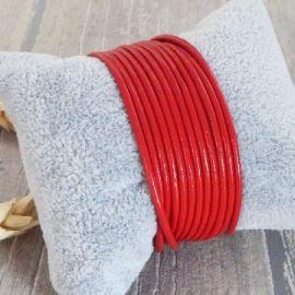 Cordon cuir rond 2mm rouge par 2 metres