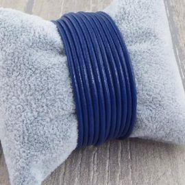 Cordon cuir rond 2mm bleu gitane par 2 metres
