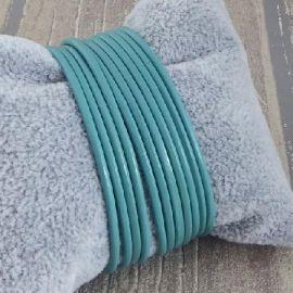 Cordon cuir rond 2mm turquoise par 2 metres
