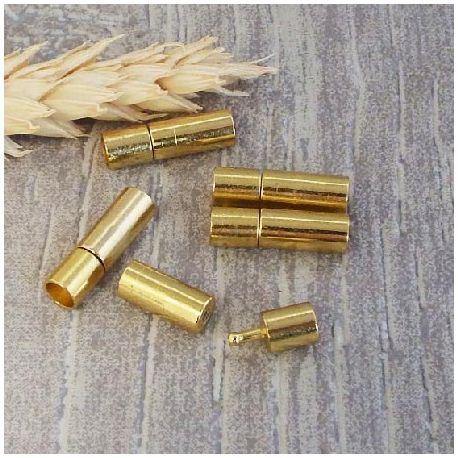 Fermoir pression laiton doré pour cuir 4mm