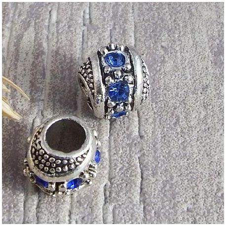 Perle europeenne rondelle argentee strass saphir trou interieur 5mm