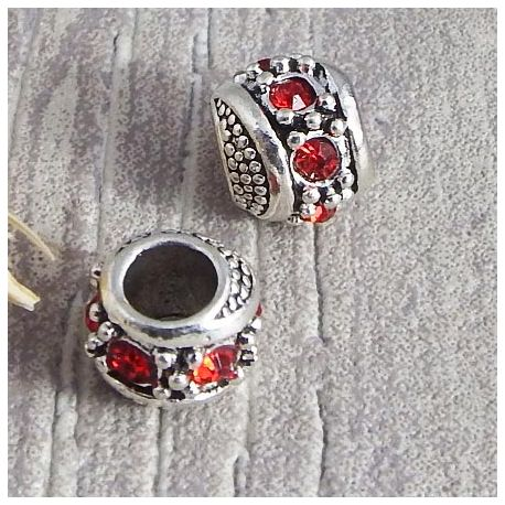 Perle europeenne rondelle argentee strass rouge trou interieur 5mm
