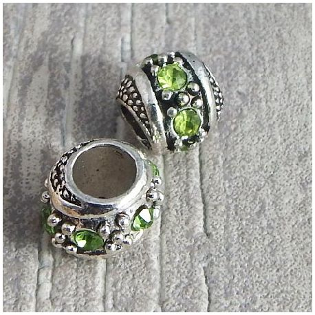 Perle europeenne rondelle argentee strass vert trou interieur 5mm