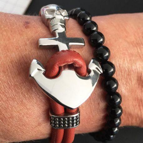 Kit tutoriel bracelet cuir couture italien brique nacre et acier inoxydable