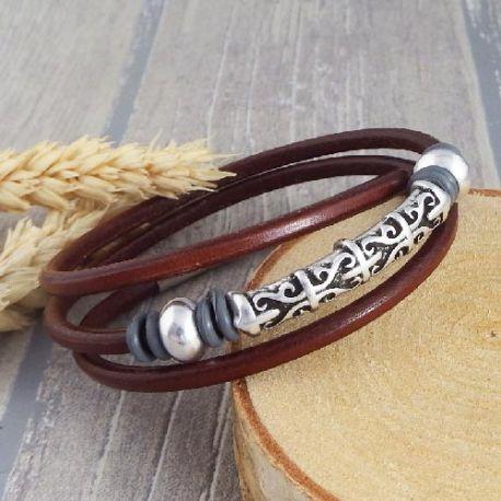 Kit tutoriel bracelet cuir marron unisexe ethnique zamak argent