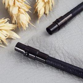 Fermoir aimante acier inoxydable couleur noire pour cuir 5mm