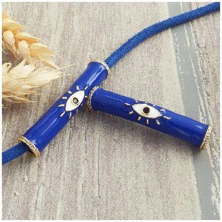 Passant tube emaille zircon plaque or bleu courbe 50mm plaque argent pour cuir 5mm