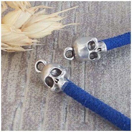 2 embouts crane tete de mort argent avec anneau pour cuir interieur 3mm