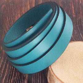 Cuir plat 15mm turquoise