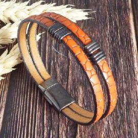 Kit bracelet cuir camel croco et gun metal
