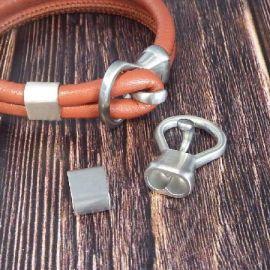 Fermoir double crochet acier inoxydable pour cuir rond