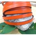 cuir plat 10mm orange en gros
