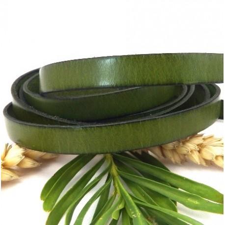 cuir plat 10mm vert par 2 mètres