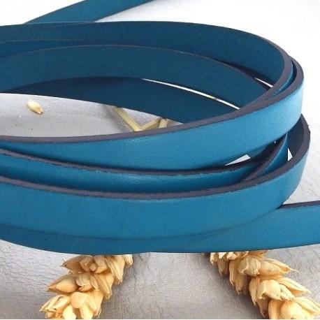 cuir plat 10mm turquoise en gros
