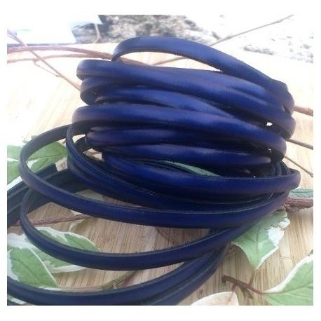 cuir plat 5mm bleu electrique en gros
