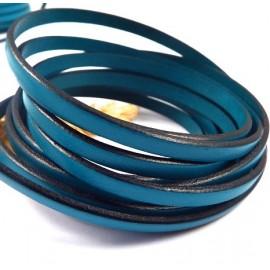 Cuir plat 5mm turquoise bords noirs en gros