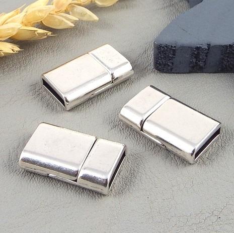 Fermoir magnetique plaque argent pour cuir 10mm
