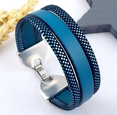 Bracelet cuir bleu turquoise