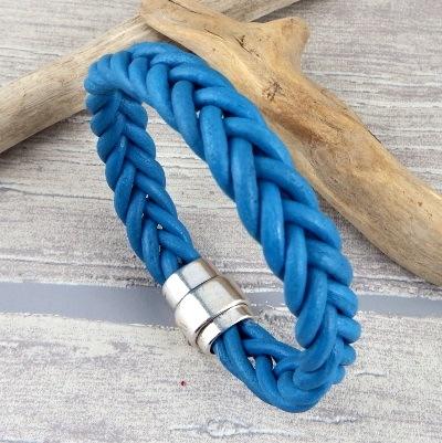 Bracelet tresse 5 brins turquoise