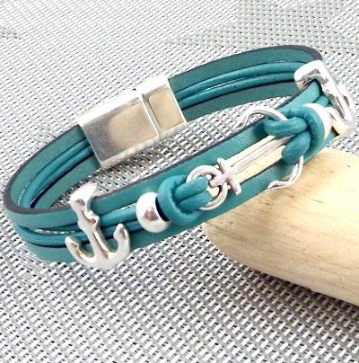 Kit bracelet cuir vert océan et ancres marines argent