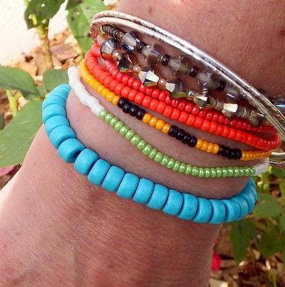 Bracelet cuir céramique artisanale turquoise