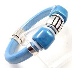 Tutoriel bracelet cuir regaliz bleu metal perles ceramique artisanale et argent