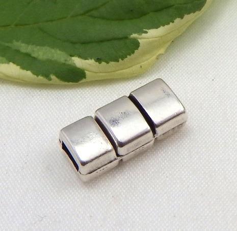 Fermoir fantaisie zamak argent magnetique cuir 5mm