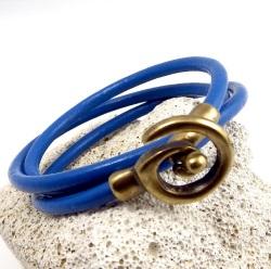 Kit bracelet cuir bleu vif fermoir spirale bronze