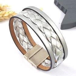Tutoriel bracelet cuir argent tresse