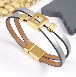 Tutoriel bracelet cuir design argent et or
