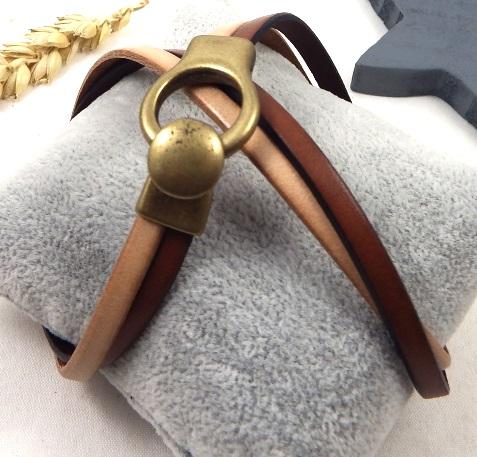 Bracelet cuir camaieu naturel et camel