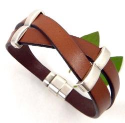 Tutoriel bracelet cuir marron croise argent
