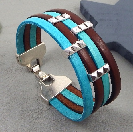 Kit bracelet cuir marron et bleu