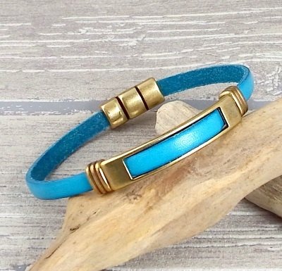 Tutoriel bracelet cuir turquoise et Bronze