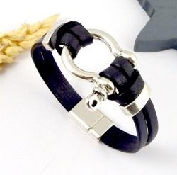 Tutoriel bracelet cuir noir manille argent